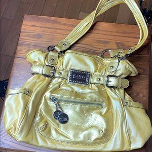 Kathy Van Zeeland Yellow Hobo Handbag euc